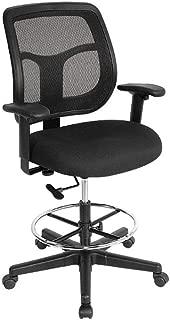 Apollo Mesh Back Drafting Stool Black Fabric Seat/Black Mesh BackDimensions: 24