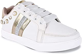 KazarMax Women's Studded Gold & Silver Platform Sneakers Shoes