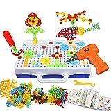 Assemblage Jouets DIY Mosaique Puzzle Jouet Bloc de Construction Jouet Montessori Jeux Éducatif avec Perceuse Tournevis Outil Enfant Garcon Fille 3 4 5 6 Ans (237 Pièces)
