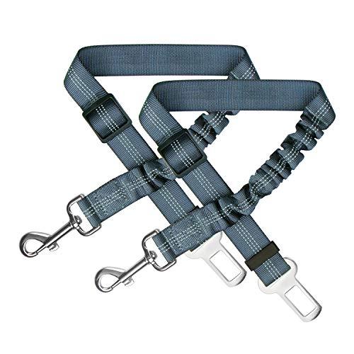 Zellar Cintura di Sicurezza per Cani, Regolabile in Nylon Riflettente Cane Gatto Cintura per Seggiolino con Elastico Ammortizza Colpi per Tutte Le Auto(Confezione da 2,Nero)