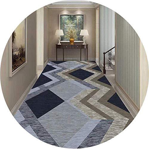 YUEDAI Soft Pasillo Corredor Alfombra Antideslizante Volver Perfecto for Cocina Hall Puerta de Entrada Escalera Hotel Alfombra-Azul/Gris Moderno (Color : B, Size : 0.6x3.5m)