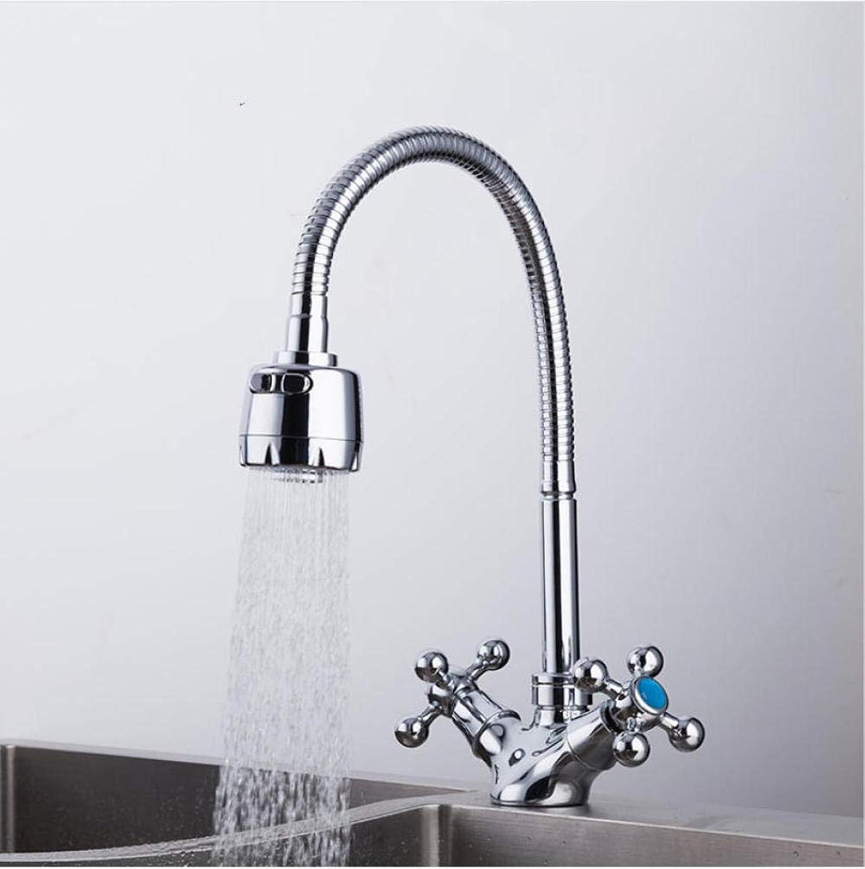 Silber Doppelgriff Spüle Wasserhahn Mischer kalt und warm Küchenarmatur Einlochmontage Wasserhahn Küchenarmatur