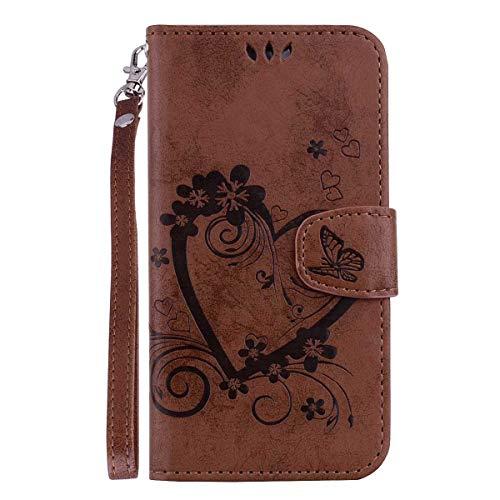 THRION Huawei P30 Lite Hülle, PU Herz Blume Brieftaschenetui mit magnetischer Handschlaufe und Ständerhalterung für Huawei P30 Lite, Braun