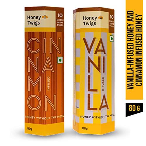 Honey Twigs 100% Natural Pure Vanilla Infused + Cinnamon Infused Honey Pack 160 Gm