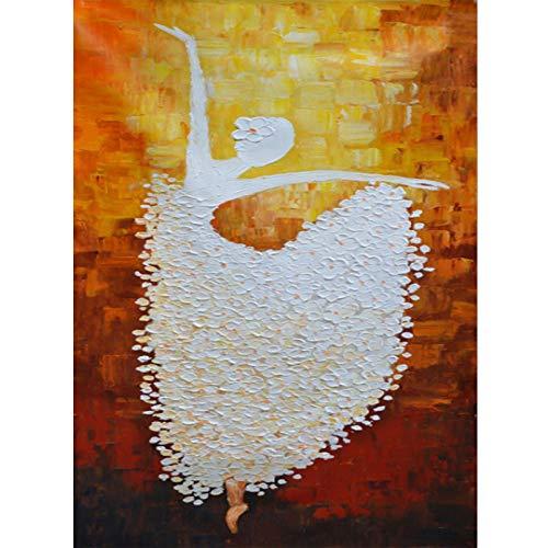 Schilderen op nummer, doe-het-zelf gebloemde rok balleet danseres geschilderd abstract afbeelding 40 x 50 cm vulling schilderij voor beginners, schilderen op cijfers set met penseel kleuren en canvas Home Decoratief