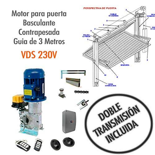 Motor (KIT COMPLETO) para puerta basculante contrapesada Guía de 3 Metros - VDS 230V CON KIT DE TRANSMISION DOBLE.