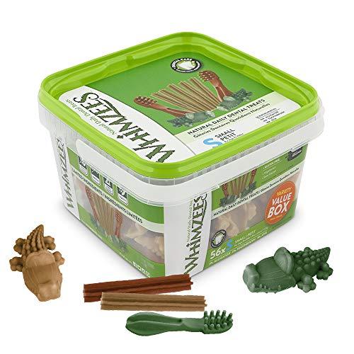WHIMZEES Gemischte Vielfaltsbox, natürliche, getreidefreie Zahnpflegesnacks, Kaustangen für kleine Hunde, 56 Stück