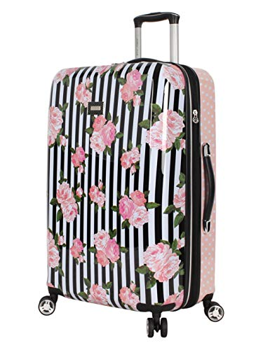Betsey Johnson 26 Inch Checked Luggage Collection - Expandable Scratch Resistant (ABS + PC) Hardside Suitcase - Designer Lightweight Bag with 8-Rolling Spinner Wheels (Stripe Roses)