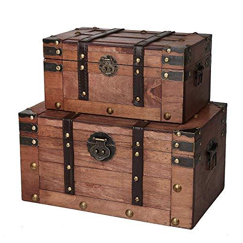 SLPR Alexander Wooden Chest - Set of 2   Decorative Storage Trunk with Lid (Rich Cognac)   Antique Wood Chest