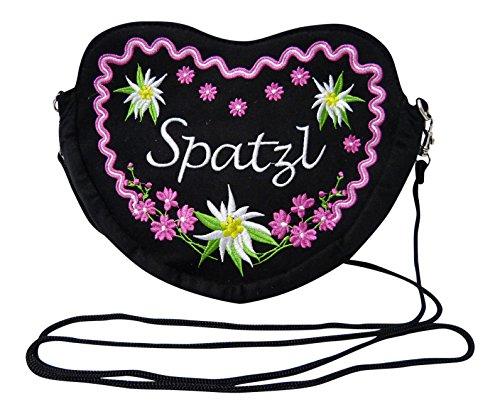 Schwarze Dirndltasche - Trachtentasche Herz Umhängetasche - Spatzl Herztasche zum Dirndl (Pink)