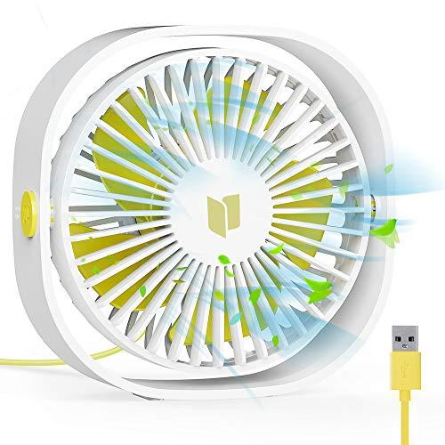 RATEL Ventilador de Mesa USB, Ventilador de Escritorio 12.5 cm Use con Cable de 1.2 metros, portátil y Personal para el hogar y la Oficina Silencioso y Potente, lo enfría en el Verano Caliente,Blanco