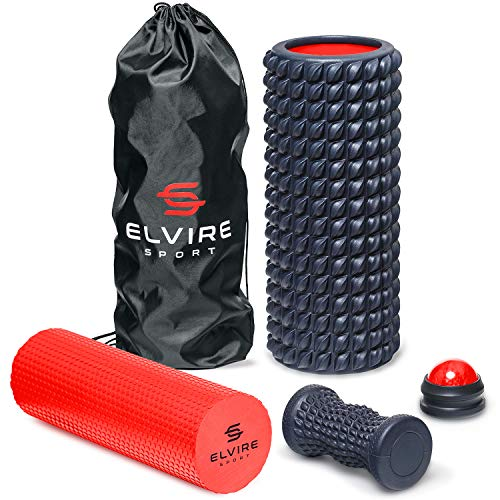 ELVIRE Faszienrolle für Tiefenmassage – Enthält Schaumstoffrollen, Massageroller Weich & für Triggerpunkte, Faszienball (Massageball), Fußroller – Für Rücken, Beine, Füße, Nacken & Plantarfasziitis