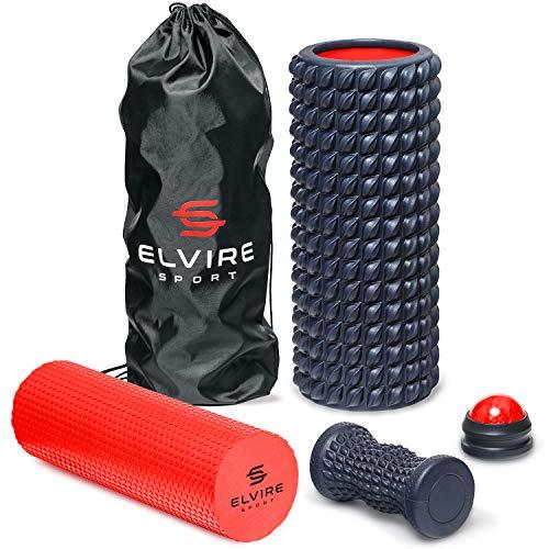 ELVIRE Foam Roller Massage Set for Deep Tissue Muscle Massage: Back, Legs, Arms & Neck – Physio Trigger Point Foam Roller, Soft Foam Roller, Massage Ball, Foot Massage Roller & Guide