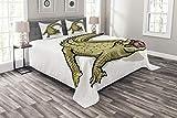 ABAKUHAUS Reptil Tagesdecke Set, Exotisches wildes Krokodil, Set mit Kissenbezügen Sommerdecke, für Doppelbetten 220 x 220 cm, Weiß