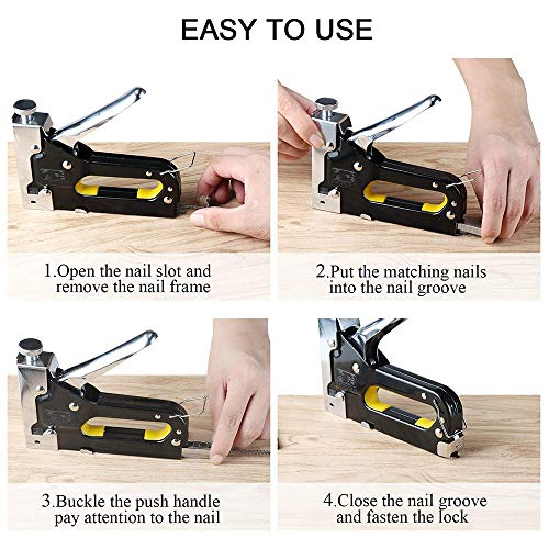 3 in 1 Heavy Duty Staple Gun with Staple Remover, Hand Operated Stainless Steel Stapler Brad Nail Gun, Furniture Stapler, Upholstery Staples, Upholstery Gun, 1050 Staples Attached Photo #4