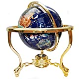 Unique Art Since 1996 14' Tall Blue Lapis Ocean Gemstone Globe with Tripod Gold Stand