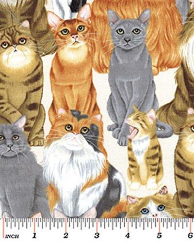 Fat Quarter der Cat's Meow Benartex Quilting-Stoff, cremefarben