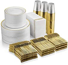 700 Piece Gold Dinnerware Set - 200 Gold Rim Plastic Plates - 300 Gold Plastic Silverware - 100 Gold Plastic Cups - 100 Linen Like Gold Paper Napkins, 100 Guest Disposable Gold Dinnerware Set