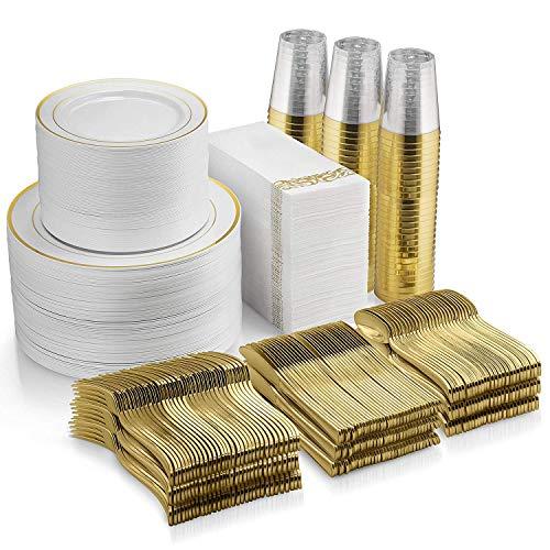 700 Piece Gold Dinnerware Set - 200 Gold Rim Plastic Plates - 300 Gold Plastic Silverware - 100 Gold Plastic Cups - 100 Linen Like Gold Paper Napkins, 100 Guest Disposable Gold Dinnerware Set
