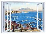 LuxHomeDecor Quadro Finestra sul golfo di Napoli Vesuvio 100x75 cm Stampa su Tela con Telaio in Legno Arredamento Arte Arredo Moderno