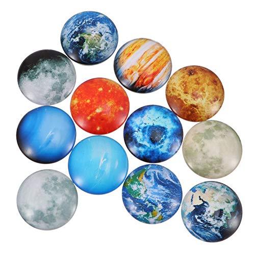 Mobestech 12 Pcs Planeta Ímã de Geladeira Gema de Vidro Ímãs Decorativos de Ímã de Geladeira para Nota Ornamento de Decoração de Imagem (Colorido)