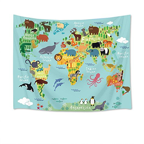 LB World Map Tapestry Animal Tapestry Kids Tapestry Wall Hanging Cartoon World...