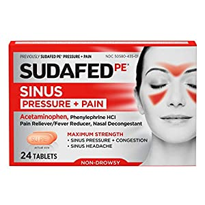 24-count box of Sudafed PE Sinus Pressure + Pain Relief Maximum Strength Non-Drowsy Decongestant Tablets provide powerful relief of sinus pain, sinus pressure, nasal congestion and headaches Each caplet contains 5 milligrams of the decongestant pheny...