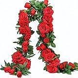 Rose Artificielle Guirlande 2M Fleurs de Vigne Plantes Fleur Faux Flowe pour Party Home Hôtel Bureau Fête Mariage Saint Valentin Jardin Craft Art 2PCS (Rouge)