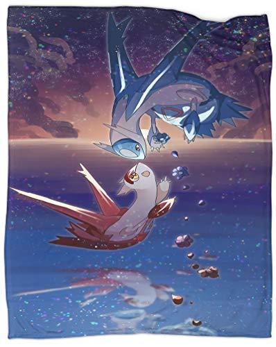 Manta de verano de Pokemon Latios y Latias Dormitorio Cama Bebé Cuna Viajando Picnic 80x101 cm