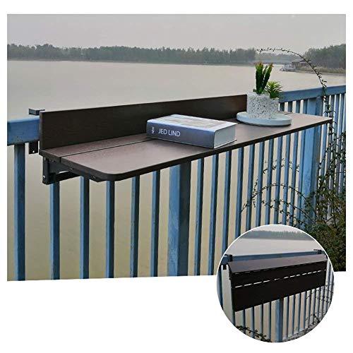 XCJJ Barandillas de balcón, mesa plegable colgante, mesa de comedor al aire libre, mesa de ocio, conservante ajustable en altura, 4 tamaños,marrón,Los 60 * 27cm
