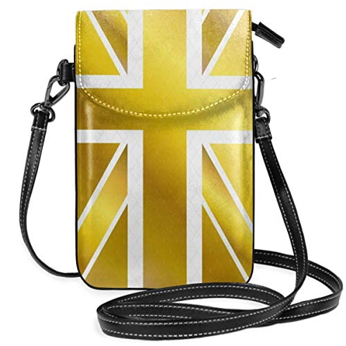 WAUKaaa British Flag Gold Leather Cell Phone Purse Holder Wallet Functional Multi Pocket for Women