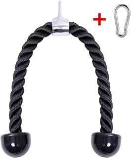 Luss Custom Heavy Duty Tricep Rope 27 & 36 inches Pull Down Fitness Cable Attachment Machine Coated Nylon Rope with Stainless Steel Snap Hook