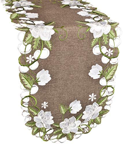 Beautiful White Magnolia Floral Design and Green Leaves Embroidered Cutwork Edges on Brown Polyester product image