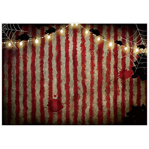 Allenjoy 7x5ft Horrible Bloody Circus Tent Backdrop for Halloween Party Decorations Rat Spider Web Scary Scarlet Stripes Kids Holiday Photography Background Photoshoot Props