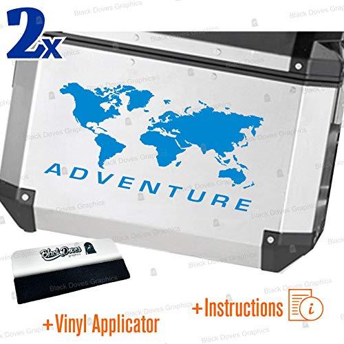 2 pegatinas World Adventure universales para varios tipos de maletas (azul)