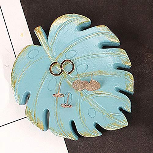 Bandeja de resina para joyas, anillo de almacenamiento de joyas, collar y bandeja de almacenamiento, plato de plato y pulsera, suministros de almacenamiento para el hogar (color azul claro monstera)
