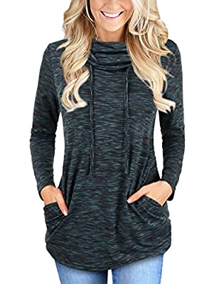 Faddare Women's Cofy Cowl Neck Space Dye Activewear Sweatshirt With Pockets