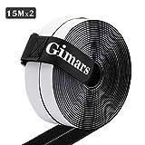 Gimars Velcro adhesivo ancho 20mm * 6M / 8M /10M / 15M Velcro adhesivo tela doble cara Fijación segura para trabajos manuales y de bricolaje/Equipado con cierre con hebilla para organizar (15M Negro)