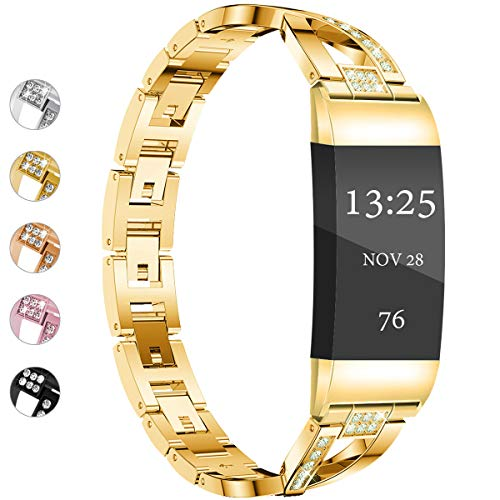 Wekin Replacement Metal Bands Compatible for Fitbit Charge 4/Charge 3 /Charge3 SE Women Men, Bling Rhinestone Bracelet Wristbands Straps Accessory for Charge 3 Fitness Tracker (X-Gold)