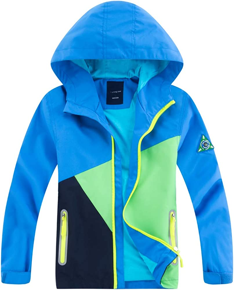 Welity Boy's Girl's Color Block Fleece Lined Waterproof Jacket Full Zip Hooded Camping Outerwear, Blue, US 10-12 Years =Tag 2XL