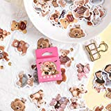 JZLMF Kawaii Brown Bear Stickers Lindo Papel Decoración Collage Papelería Pegatinas 46 Unids/Caja