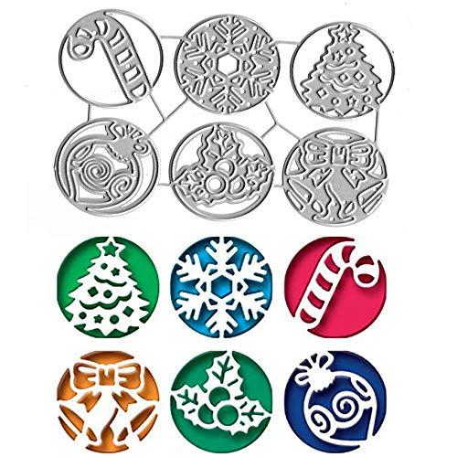 6pcs Christma Rings Metal Die Cuts,Christma Tree Snowflake Gift Bell Cutting Dies Cut Stencils for DIY Scrapbooking Craft Decorative Embossing Paper Dies for Card Making