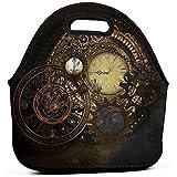 Relojes Steampunk Bolsa de almuerzo Bolso de mano portátil Bolsa de bento Bolsa de almuerzo Paquete de cremallera multifuncional para la oficina de trabajo escolar