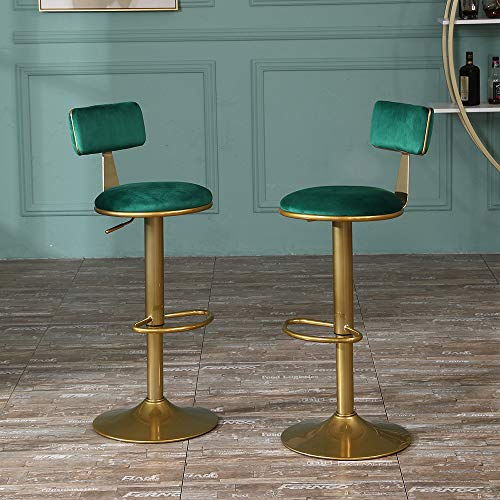 Round Breakfast Bar Stools Velvet Set of 2 with Footrest Back for Counter Pub, Retro Swivel Kitchen Chairs Gas Lift Height Adjustable Stool with Golden Metal Legs Padded Upholstered Seat