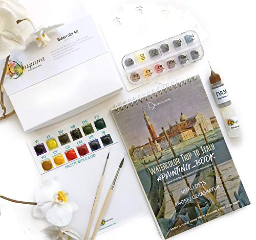 Watercolor Kit (Complete) with Artbook Creative DIY Gift Watercolor Palette Paints Insparea How-to Coloring Watercolor Sketchbook Like Paint by Numbers