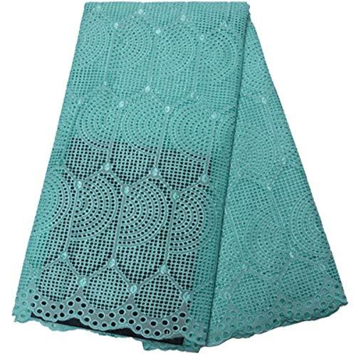 Gratis verzending (5 yards/pc) hoge kwaliteit Afrikaanse droge katoenen kant stof marineblauw Zwitserse voile stof voor feestjurk CLP265,6 als foto