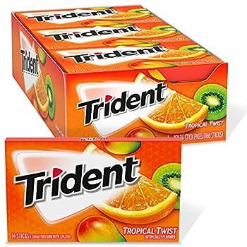 Trident Tropical Twist Sugar Free Gum School Lunch Box Snacks 14 Pieces