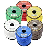 Best Connections 14 AWG Pure Copper Stranded 6-Way Trailer Wire - 6 Rolls 100' Each True Gauge Power Ground Remote Primary Hook-Up Cable 12-Volt