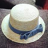 Sombrero De Playa para Sombrero De Paja De Verano, Sombrero De Canotier, Sombreros De Verano con Lazo para Niñas, Sombrero De Paja De Panamá Plano De Playa para Mujer, 48-52 C