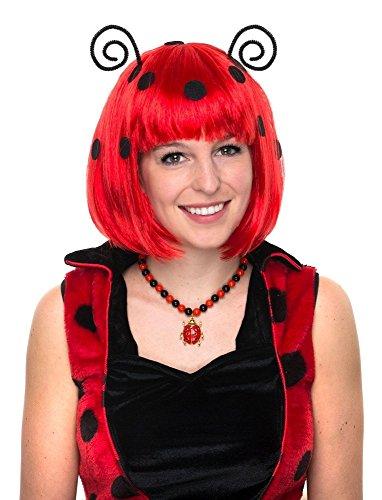 Das Kostümland Perücke zum Marienkäfer Kostüm mit Fühlern - Rot Schwarz - Schöne Kurzhaar Bob Perücke mit Punkten zu Karneval Mottoparty Festival Junggesellenabschied